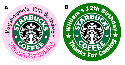 Starbucks Custom Round Birthday Party Stickers Favors Labels ~ Various Sizes