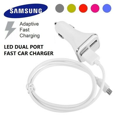 ADAPTIVE FAST CHARGING LED CAR CHARGER DUAL PORT for Samsung Galaxy S8 S7 S6 A5