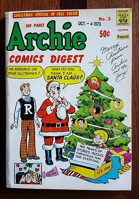 Archie Comics Digest #3 Christmas Special  with  Date Stamp 1973