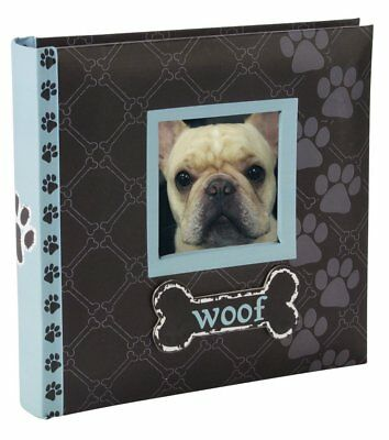 Woof Photo Album W/ Build-In Frame For 80pc 4x6 Pictures Dog Lovers Gift Blue