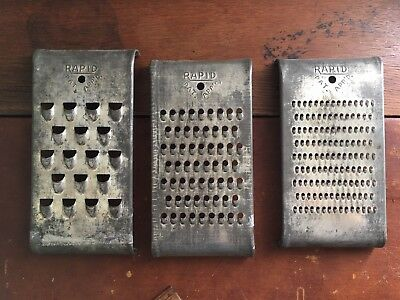 Set of 3 Vintage Rapid Graters Shredders Curved Metal