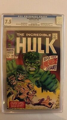 Incredible Hulk #102, CGC Graded 7.5 OW/W Pages