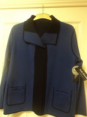 Betty Barclay Reversible Jacket. 18 (44) Blue & Black. New With Tags