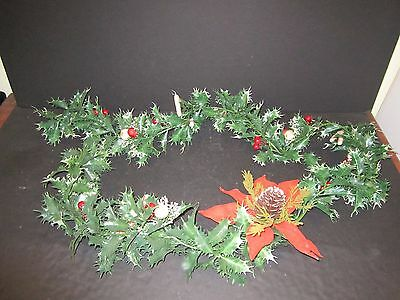 6' VTG Kitschy Plastic Holly Garland Poinsettia Berries Candy Canes Christmas