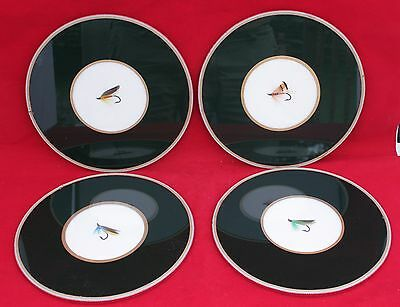 Vintage Set Of 4 Large Fly Fishing Lure Coasters - Ebbles Ltd., London, England