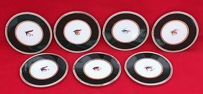 Vintage Set Of 7 Fly Fishing Lure Drink Coasters - Ebbles Ltd., London, England