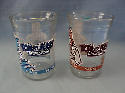 "Set of 2 Welch's 1993 Tom & Jerry ""THE MOVIE"" Glass Jelly Jars"