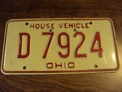 Ohio House Vehicle License Plate #d 7924