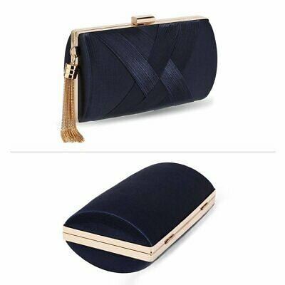 Navy Blue Satin Clutch Bag Ladies Handbag Wedding Party Evening New