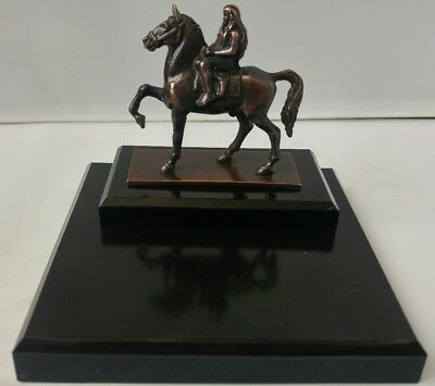 Vintage Bronze/spelter ? Lady Godiva Miniature Sculpture Figurine On Mounted Bak