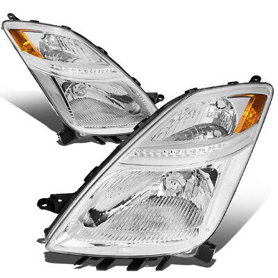 Fit 2006-2009 Toyota Prius Pair Chrome Housing Amber Corner Headlight/Lamp Set