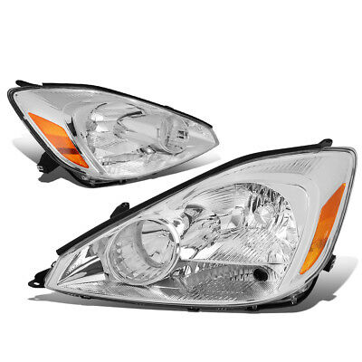 Fit 2004-2005 Toyota Sienna Pair Chrome Housing Amber Corner Headlight/Lamp Set