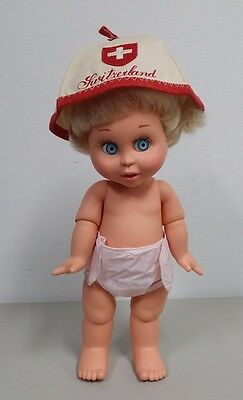 Doll//Small Child Vintage Switzerland Red & Tan Hat Shield w/ Cross Patch