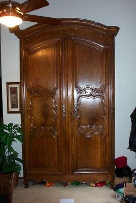 Tall French Provincial (18th Century) Walnut Hand Carved 2 Door Antique Armoire