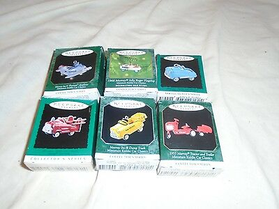 Group Of 6 Kiddie Car Classics Hallmark Mini Ornaments In Original Box