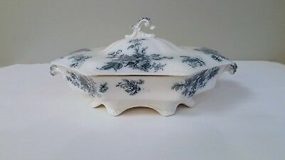 Covered Vegetable Bowl W.h Grindley & Co. Chatsworth  Blue Floral 1896 Excellent