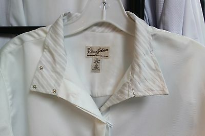NEW Tailored Sportsman Ladies Windsor Show Shirt - White w/Grey Stripes - 38, 40