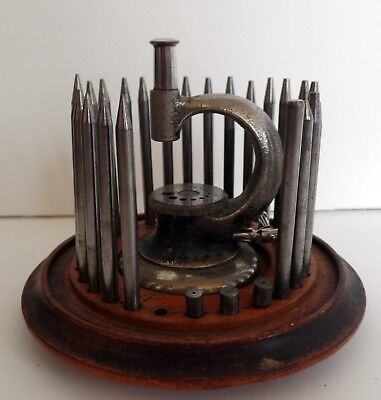 Antique Watchmakers Jewelers Clockmakers Staking Tool Set with Wood Base