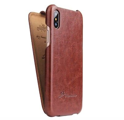 Authentic Fashion Brand for New Apple Iphone X Brown Leather Flip Cover Case