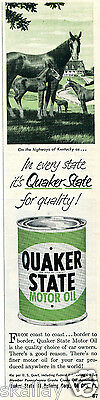 1951 Print Ad of Quaker State Motor Oil oh the highways of Kentucky horse farm