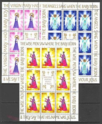 Nevis #118-120 in Miniature Sheets of 8 Each 1980 Christmas Stamps