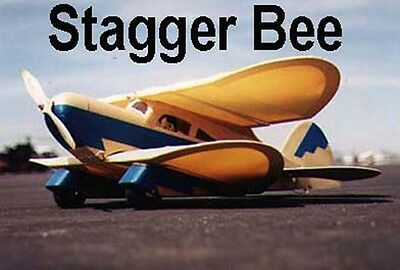 """Model Airplane Plans (RC): Stagger Bee 29½"""" Biplane w/Inst Booklet (Gas or Elec)"""