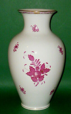Antique 32cm Large Herend Purple Apponyi Vase 7001 RED TENDRIL FLOWER PORCELAIN