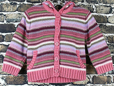 Baby Gap Knit Button Up L/S Sweater 6-12 months Pink Purple Stripes Hoodie