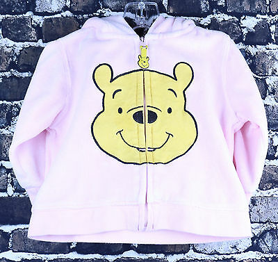 Disney Baby Pink Winnie The Pooh L/S Zipper Hoodie Size 6-12M Classic Sweater