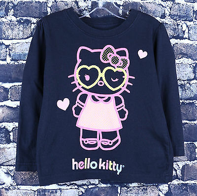 Hello Kitty Black L/S Shirt Size 2T Girls Hot Pink Front Graphic Style