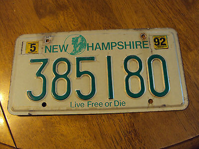 1992 New Hamshire License Plate #385180
