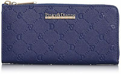 Pinky & Dianne saffiano embossed L letter zipper wallet (navy) From Japan F/S