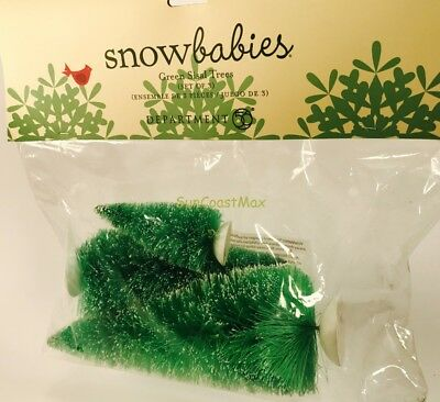 Department 56 Snowbabies Green Sisal Trees Set of 3 NEW Christmas Village Decor