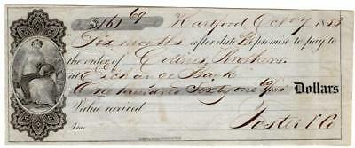 United States ~ Illustrated Check ~ 1853 Paper Check ~ Exchange Bank ~ G LC 280