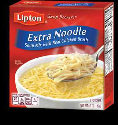 2 Boxes Lipton Extra Noodle Soup Mix with Real Chicken Broth - 4.9oz Box-