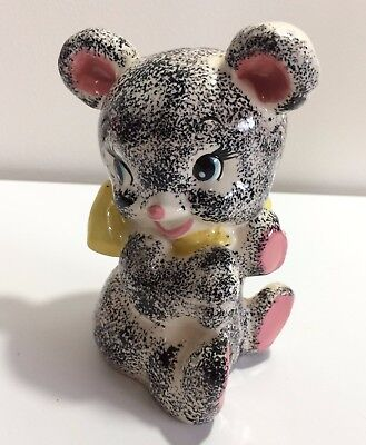 Baby Black Bear Figural Coin Bank figural yellow bow vintage japan