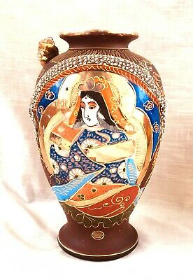 Vintage Hand Painted Satsuma Gilded Vase with Moriage, Dragon & Immortals 9+ In