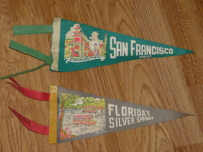 2 Small Vintage United States Pennants, San Francisco - Florida's Silver Springs