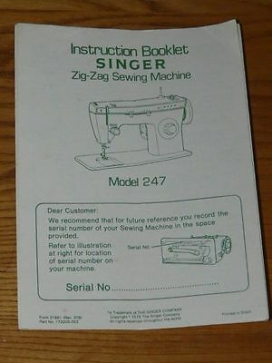SINGER 247 SEWING MACHINE Zig-Zag Owners Manual - Book - Booklet - Guide