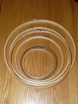 6 Wooden Embroidery Hoops Frame Lot