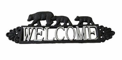 Cast Iron Black Bear Family Welcome Sign - Silver Tone Lettering - Lodge Cabin