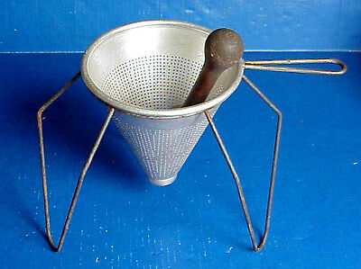Vintage KITCHEN KRAFT Aluminum Strainer, Pestle & Stand Made in USA