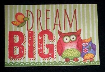"Fridge Magnet ""DREAM BIG"" Owls and butterfly"