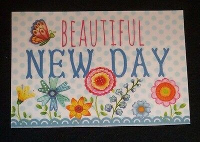 "Refrigerator Magnet ""Beautiful New Day"" Butterfly and flowers"