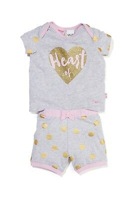 "Peter Alexander baby girls 3-6mths ""Heart Of Gold"" PJ Set Boxed RRP$39.95"