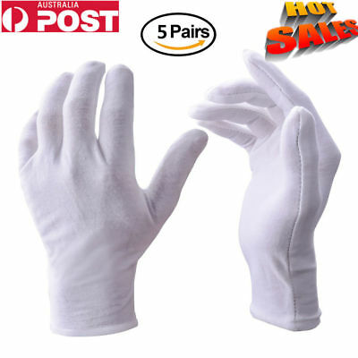 5 Pairs White Work Jewellery/Garden Handling Costmue Cotton Soft Thin Gloves