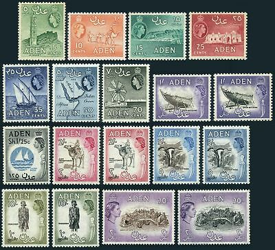 Aden 48-61A set/18,hinged. QE II 1953-1959.Minaret,Camel,Crater,Dhow,Map,Badge,