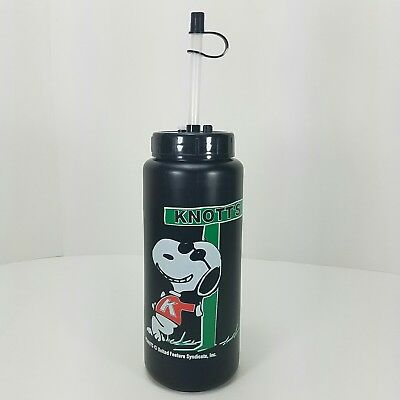 Snoopy Joe Cool Peanuts Knott's Berry Farm Black Souvenir Cup W Lid Handle Straw