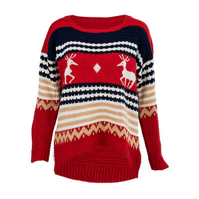 5X(Woman Knitting Sweater Pull round neck Prints Red One Size N9H8