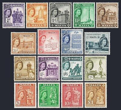 Malta 246-262,lightly hinged. QE II definitive 1956-1967.Churches,Monuments,Gate